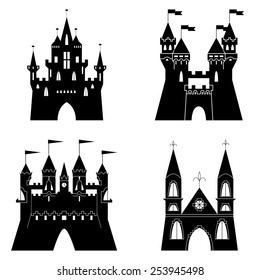 Collection of fairytale castle silhouettes. Vector illustration