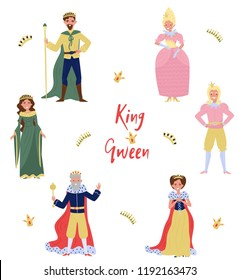 Collection of fairytale characters, king,queen, prince and princess, persons in historical costumes vector Illustration on a white background