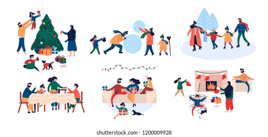 Collection of family enjoying Christmas holiday home outdoor activity decorating New Year tree, giving gifts, ice skating, build snowman, sitting by fireplace. Vector illustration cartoon flat style
