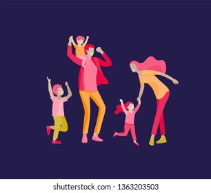 Collection of family hobby activities. Happy Mother, father and children dansing and jumping together. Cartoon vector illustration