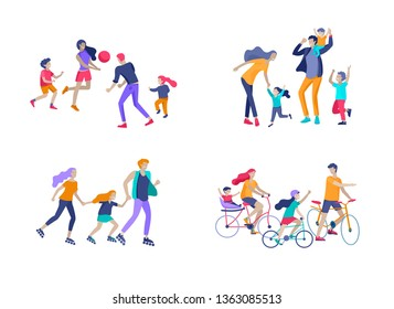 Collection of family hobby activities. Mother, father and children riding bikes, walking, roller skating, play to ball and dansing together. Cartoon vector illustration