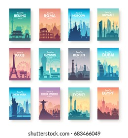 Collection of famous city scapes. Flat well known silhouettes. Vector illustration easy to edit.