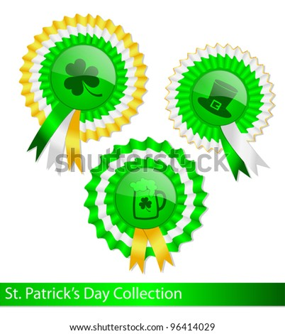 Collection Fancy Ribbon Medals Saint Patricks Stock Vector (Royalty