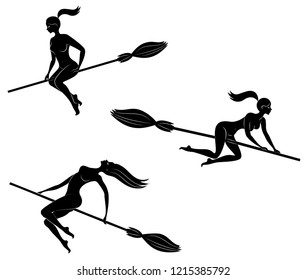 Collection. Fantastic character from a fairy tale, the witch girl. A woman flies on her broom for Halloween. The lady is naked and beautiful. Vector illustration set.