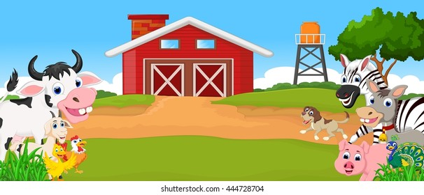 Collection farm animals with farm background