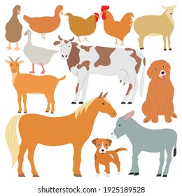 Collection of farm animals with cows, horses, chickens, roosters, goats, sheep, ducks, donkeys and geese