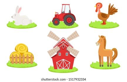 Collection of Farm Animals Such as Rooster, Horse, Rabbit, Windmill, Tractor and Hay Vector Illustration