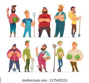 Collection of farm character design. Happy and healthy farmers set.