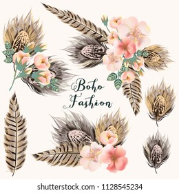 Collection of fashion boho bouquets with roses and feathers for design