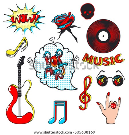 Collection Fashion Patch Badges Musical Symbols Stock Vector