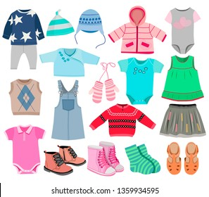 Collection of fashionable children's clothing isolated on white background, vector illustration