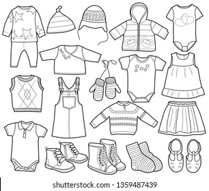Collection of fashionable children's clothing, vector illustration, coloring book