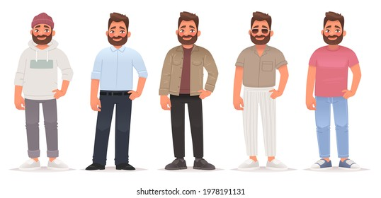 Collection of fashionable outfits of a young man. The guy is dressed in trendy clothes, street casual sports and business attire. Vector illustration in cartoon style