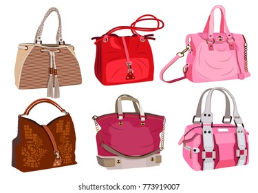collection of fashionable women's bags