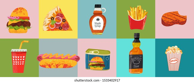 Collection of fast food and beverage items. American food. Vector illustration with hand drawn textures. Pizza, hamburger, whiskey, hot dog, steak, French fries.