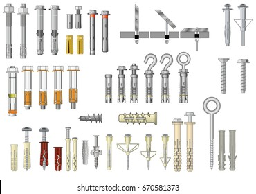 Collection of fasteners: metal expansion anchors and plastic plugs