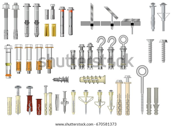 Collection Fasteners Metal Expansion Anchors Plastic Stock