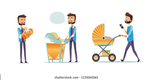 Collection of father taking care of child isolated on white background. Set of man feeding baby, changing diaper, carrying stroller. Super dad, modern fatherhood. Flat cartoon vector illustration