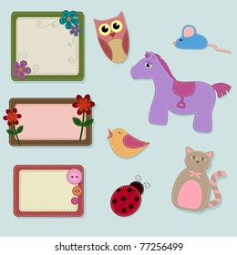 collection of felt animals and frames