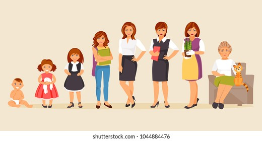 Collection of female age. Development of women from the child to the elderly. Female characters. The aging process. Vector illustration