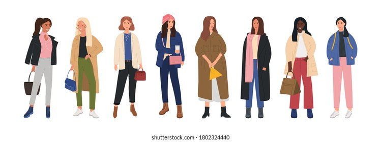 Collection of female characters dressed in trendy fashion clothes. Set of fashionable cute girls in clothes for any cool season. Beautiful stylish girls in trendy clothes. Flat Vector Illustration.