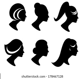 collection of female hair style icons