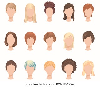 Collection of female hairstyles. Different women nationalities and hair color set. Vector illustration EPS-8.