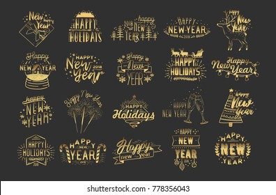 Collection of festive Happy New 2018 Year hand drawn lettering. Inscriptions with holiday elements - fireworks, champagne, snow globe, light garland, baubles, snowflakes, spruces. Vector illustration.