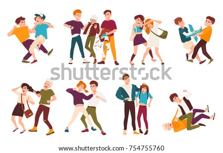 Collection of fighting children. Conflicts between kids, violent behavior among teenagers, violence at school. Flat cartoon characters isolated on white background. Colorful vector illustration.