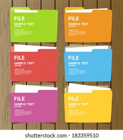 Collection of file folder with documents vector illustration