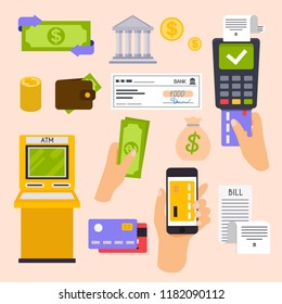 Collection of finance workflow items and elements, finance and marketing objects. Flat design modern vector illustration concept.