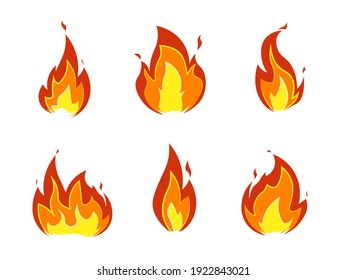 Collection of fire icons. Cartoon bonfire, horizontal flame and seamless border isolated on white background