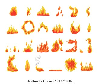 Collection of fire icons, flames symbols, vector