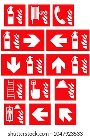 Collection of fire signs according to the current form of ASR A1.3. EPS 10 vector file