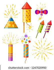 Collection of firecracker. Pyrotechnic colorful icon set. Firework for New Year celebration. Flat vector illustration isolated on white background.