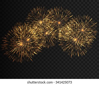 Collection firework, festive fireworks of yellow colors arranged on a black background. Isolated outbreaks, firework transparent to paste. Sparkling firework abstract shapes. Vector illustration EPS10