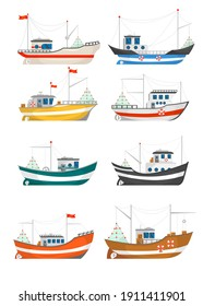 Collection of fishing boats vector illustrations. Fisherman trawlers, ships with cranes lifting nets isolated on white. For food and seafood industry, marine job, transportation concept