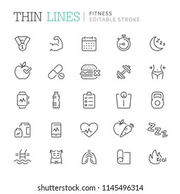 Collection of fitness related line icons. Editable stroke
