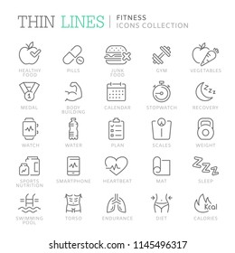 Collection of fitness related line icons. Vector eps 8