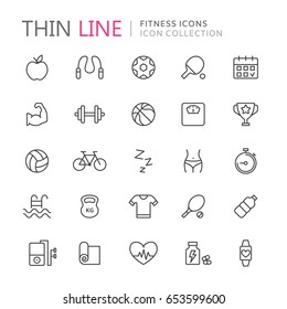 Collection of fitness thin line icons