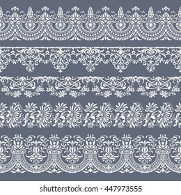 collection of five tiling floral vector borders - perfect for greeting cards, wedding invites or other romantic projects