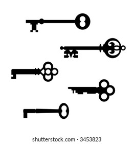 A collection of five vector silhouettes of antique skeleton keys, created from the actual keys.