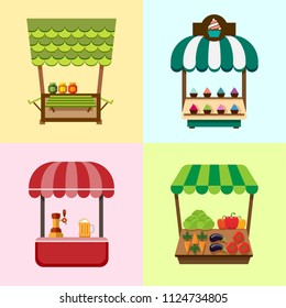 Collection of fixed stalls for external usage. Set of stylized illustrations of promo stands, food stalls, kiosks, market stalls and various promotional and sales objects.