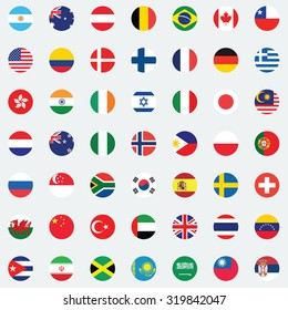 Collection of flag button design. Flag of world.