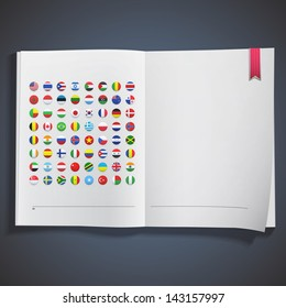 Collection of flag button printed on white book. Vector design.