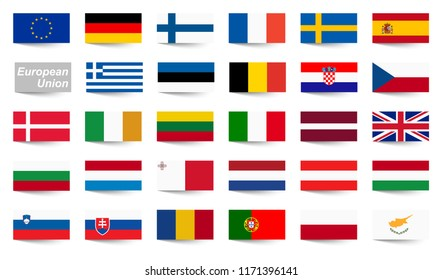 collection of flags from all national countries of European Union