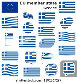 collection of flags and buttons with national country colors of Greece