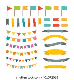 Collection of flags garland. Vector design elements. Buntings and flags. Holiday set. Vector illustration