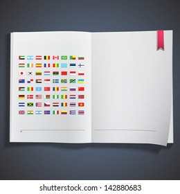 Collection of flags printed on white book. Vector design.