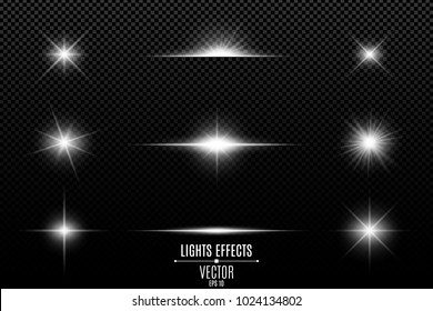 Collection of flashes, lights and sparks. Abstract white lights isolated on a transparent background. Bright white flashes and glares. Bright rays of light. Glowing lines. Vector illustration. EPS 10